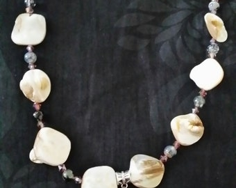 Real Shell Necklace with Blue Wooden Russian Doll, Flat Cream Shell Beads, Dragon Vein Beads and Amethyst Beads
