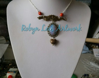 Antiqued Brass Dragon & Fire Opal Crystal Stone Necklace on Silver Crossed Chain with Filigree Heart and Fire Berry Beads