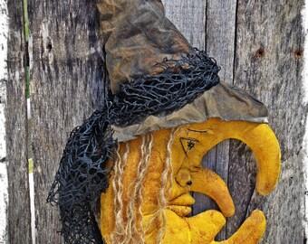 Primitive Witch Moon Halloween Folk Art, Door Greeter, Autumn Fall Decor, Shelf Tuck, Cupboard Sitter, OFG FAAP