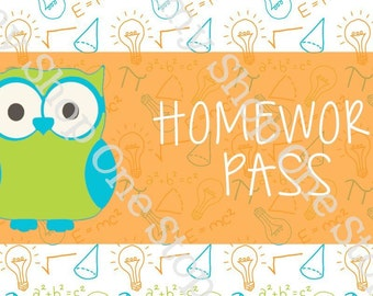 Brightly Colored Homework Pass with Owl
