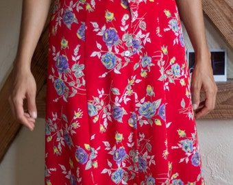 Vintage 90s Red Floral Maxi Dress with button detail