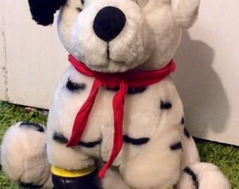 Vintage Plush Firefighter Dalmatian Dog, Dalmatian Stuffed Animals, Firefighter Plush Doll, Dog Firefighter, Dalmatian Fireman, Plush Dogs