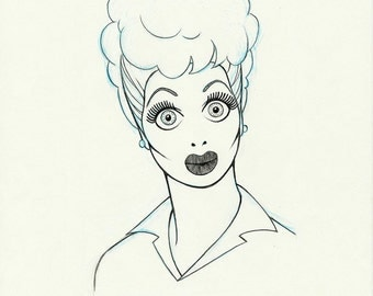 LUCILLE BALL original wide eyed pencil drawing for the US postage stamp