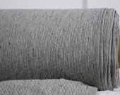 Pure 100% linen fabric by metre. Natural and charcoal dark gray very narrow stripes. Medium weight, softened. For clothes,  other usage
