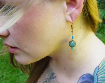 Real turquoise beaded earrings, lightweight