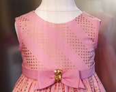 Ready To Ship 12-18 months! Glitzy Girl's Light Peach/Pink & Gold Spot Dress, 1st Birthday Dress, Girl's Dress with Bow, Special occasion