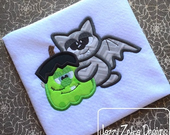Halloween bat with Frankenstein Pumpkin Appliqué Embroidery Design - Halloween appliqué design - bat appliqué design - Frankenstein
