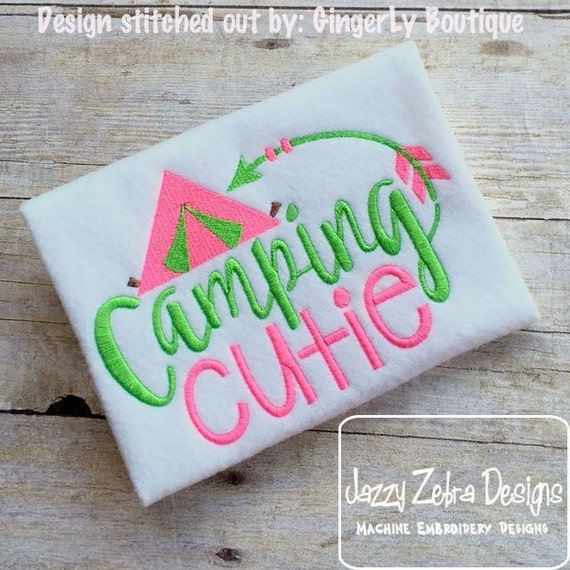 Camping Cutie saying Embroidery Design - camp Embroidery Design - camping Embroidery Design - girl Embroidery Design - tent Embroidery