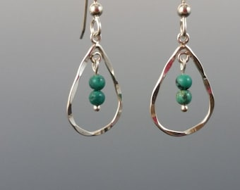 Turquoise and Sterling Silver Teardrop Earrings