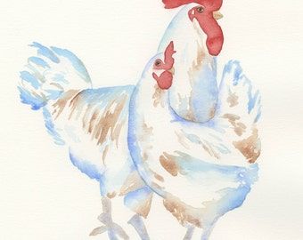 "ORIGINAL Watercolor Chickens, 11""x14"" Watercolor Sketch, Watercolor Rooster & Chicken Painting, Bird painting, Chicken Art, Nursery Art"