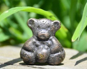 Teddy bear knob/animal knob/cabinet knob/cast iron knob/kids knob/baby nursery knob/small knob/petite knob/drawer pull/dresser knob