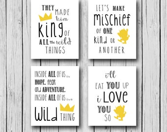 Where The Wild Things Are Instant Downloads | SET OF 4 Instant Downloads| Wild Things Baby Shower