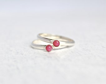 Genuine Ruby Ring.  Sterling Silver Ruby Ring.  Stacking rings.  Everyday wear silver ring. July Birthstone jewelry.