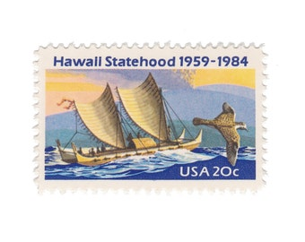 10 Unused Vintage Postage Stamps - 1984 20c Hawaii Statehood - Item No. 2080 - Vintage Postage Shop