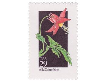 10 Unused Vintage Postage Stamps - 1992 29c Wildflower Series - Wild Columbine - Item No. 2678