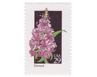 10 Unused Vintage Postage Stamps - 1992 29c Wildflower Series - Fireweed - Item No. 2679