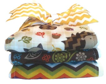 Woodland Friends Burp Cloth Set - Baby Shower Gift