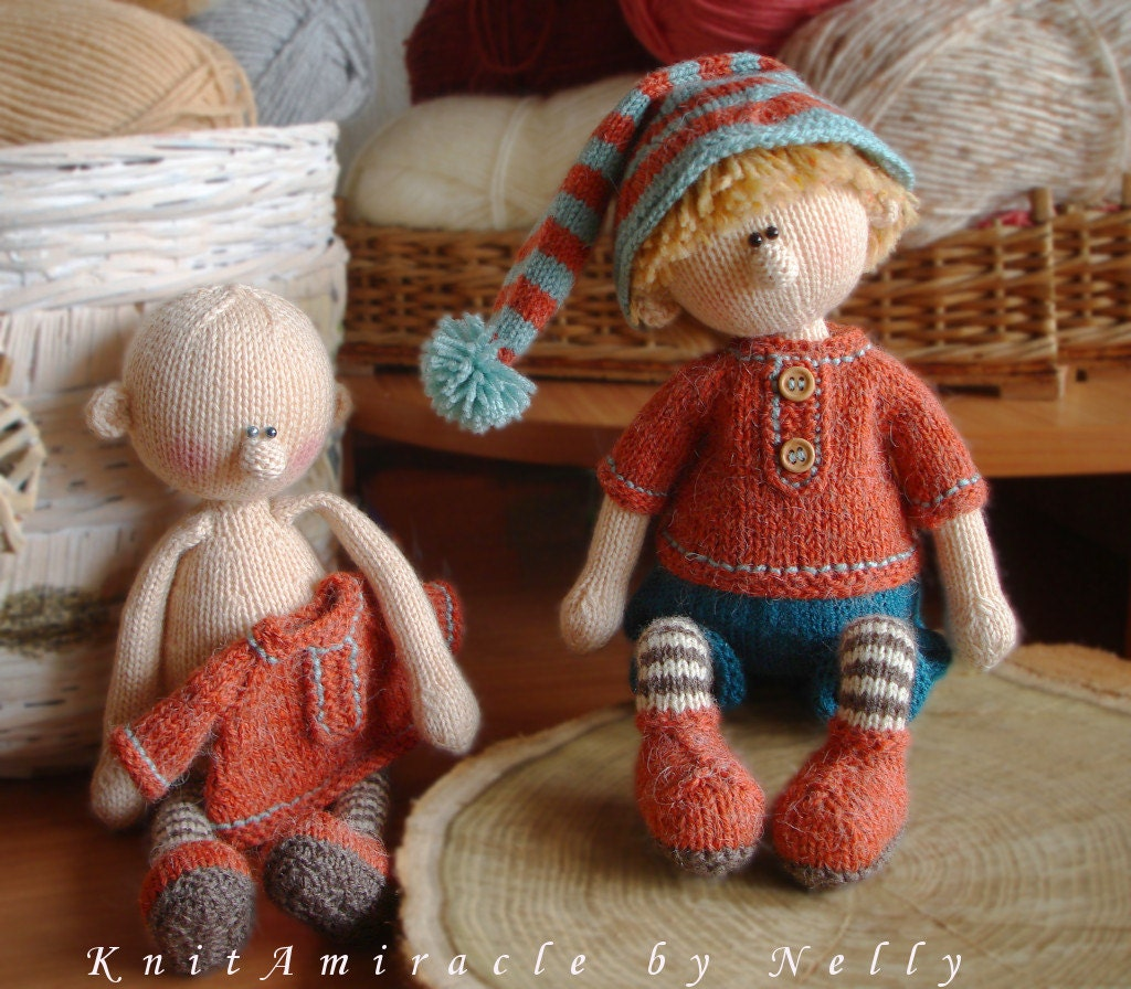 Knitting Doll How To Use : Knitting pattern doll toy knitted