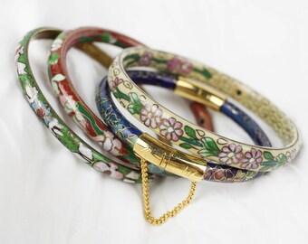 Vintage Authentic Cloisonne Set Of 4 Bangle Bracelets