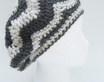 white and grey star hat, crochet hat , tam , crochet slouchy , striped beret , tweed white and grey hat , chevron  hat