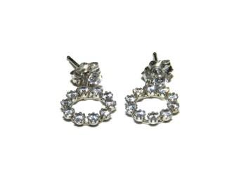 10K Gold Cubic Zirconia Earrings, 10K Gold Earrings, CZ Earrings,