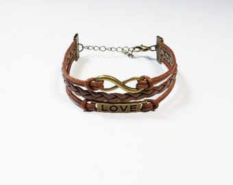 Infinity Love Brown Cord Bracelet