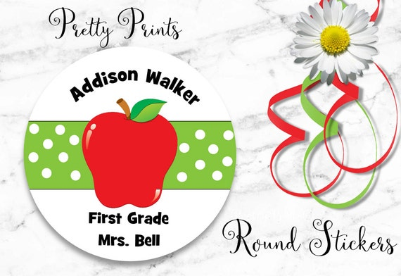 Back to School - Apple Stickers - Apple Labels - School Labels - Personalized Stickers - Apple, Set of 12 Round Labels - Stickers