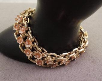 Sweet Gold Tone Bracelet with Enameled Flowers 1950-60s