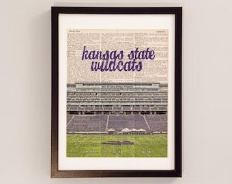 Kansas State Wildcats Dictionary Art Print - Bill Snyder Family Stadium - Manhattan KS Print - Vintage Dictionary Paper, KSU, Kstate