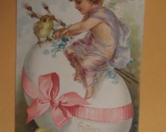 Vintage Greeting Postcard EASTER 1900's Used!