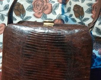 Vintage Brown Lizard Skin, Revits Box Style Handbag. 1940.s