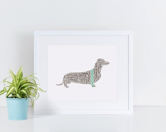 FRAMED 11x14 Customized Dachshund Art Print // Dog Mom, Dog Breed, Dog Print, Gift for Dog Lover, Dog Breed Art, Pet Lover, Pet Art