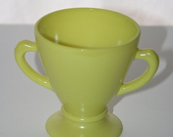 Vintage Chartreuse Hazel Atlas Sugar Bowl, Moderntone Ovide Sugar Bowl, Mid-Century Chartreuse Platonite Milk Glass From 1936 - 1950's