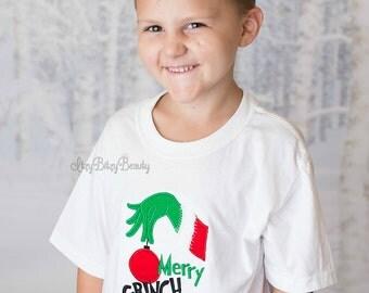 Merry Grinchmas embroidered shirt grinch hand Christmas boy girl