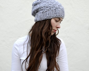 hand knitted textured slouchy beanie || the anchorage || silver || choose your color
