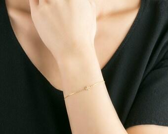 Dainty hexagon diamond bracelet, Vintage everyday bracelet, single diamond bracelet, 14k gold, 14k rose gold, 14k white gold, mil-b101-2mm