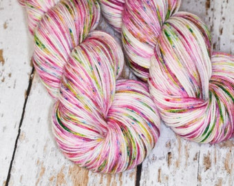 Speckled Hand Dyed Yarn KM Fingering Sock Superwash Merino Wool Nylon in Rose and Green