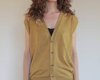 80's Armani mustard yellow wool granddad cardigan vest