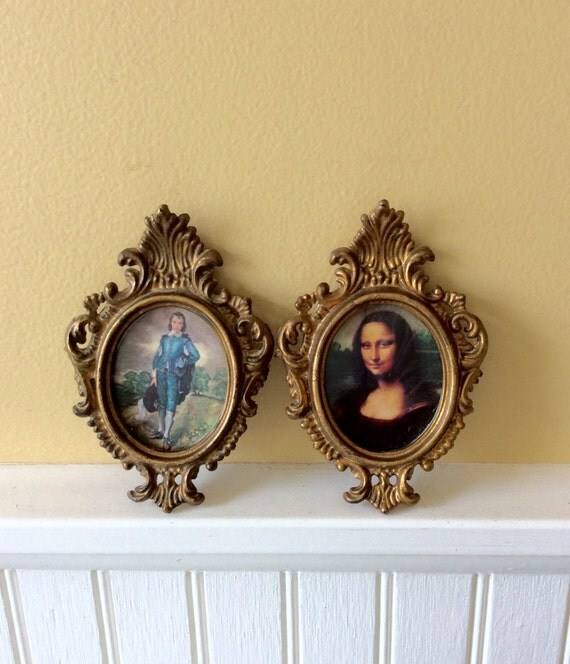 Vintage pair of gold small ornate oval frames wall decor - Oval wall decor ...