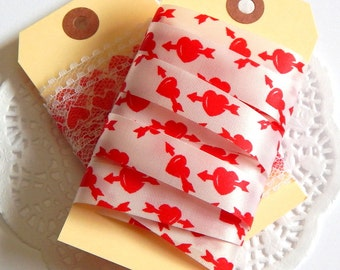 Vintage Heart Ribbon. Vintage Lace. Heart Lace. Red Heart Ribbon. Satin Ribbon. Printed Ribbon. Paper Ribbon. Valentine Ribbon. Scrapbooking