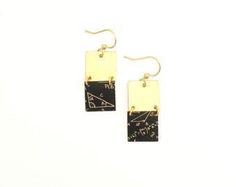 Handmade | Earrings gold squares pattern geek