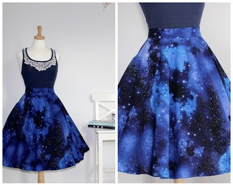 Space dust skirt, galaxy skirt with pockets, star wars skirt, 50s circle skirt, pinup skirt