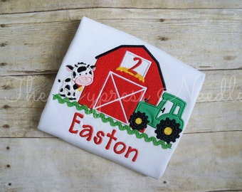 Farm Birthday Shirt, Barnyard Birthday Shirt, Tractor Birthday Shirt, Farm First Birthday, Barn Tractor Shirt, Cow Shirt, Tractor Shirt