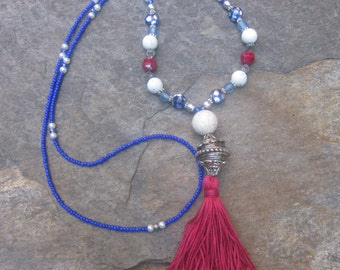 Long Beaded tassel necklace cobalt blue red white & blue necklace long seed bead necklace Bohemian necklace boho necklace Patriotic jewelry