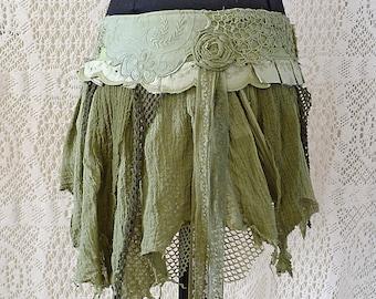 BOHO TATTERED SKIRT lace romantic fairy gipsy jungle pixie steampunk