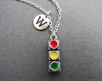 Stoplight Necklace, Stop Light Keychain, Custom Initial Traffic Light Necklace, Silver Stop Light Bangle Bracelet, Traffic Signal Key Chain