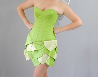 Tinkerbell Inspired Overbust  Steel Boned Corset and Skirt Costume - Adult