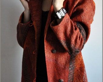 "Coat ""red autumn"" Felt"