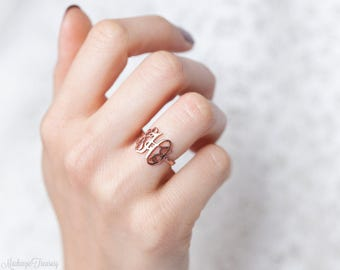 SALE 30%* Monogram Ring - Personalized Monogram Ring - Initials Ring - Monogrammed Ring - Bridesmaid Gift - Wedding Gift -