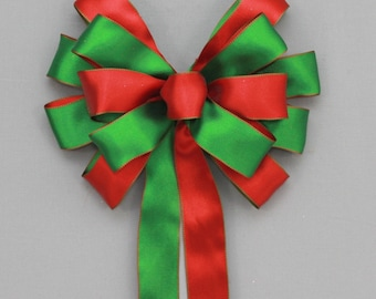 "Red Green Satin Christmas Wreath Bow - 9"" wide Christmas Bow, Christmas Garland Bow, Christmas Tree Bow, Mantel Bow"